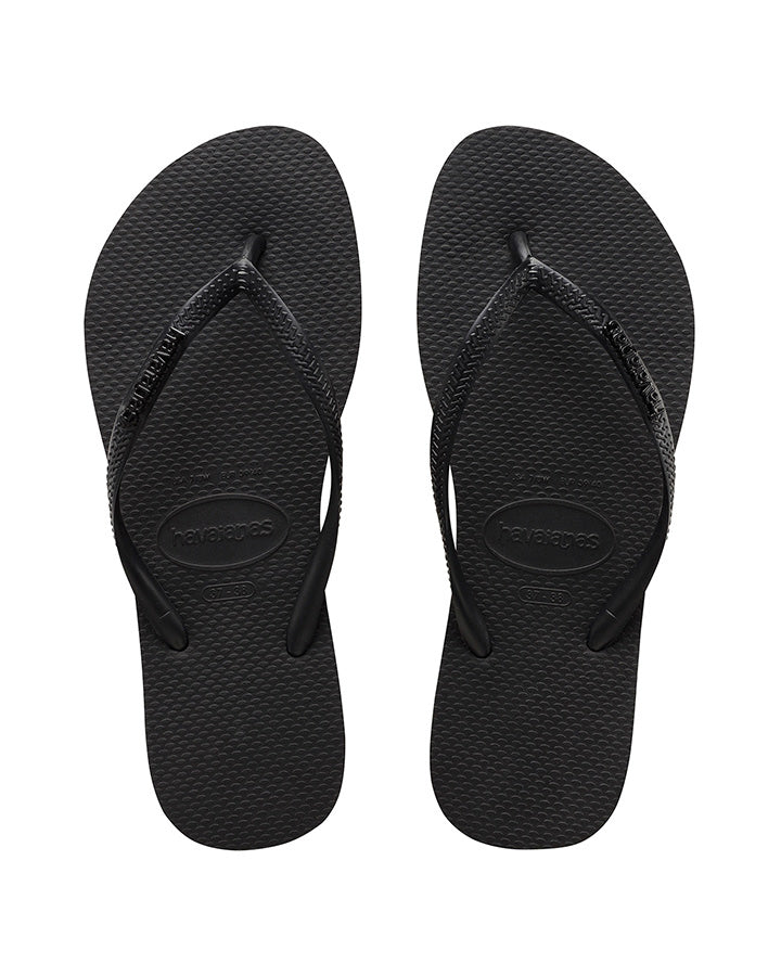 HAVAIANAS | WOMENS SLIM METAL LOGO ROCK (BLACK/BLACK)