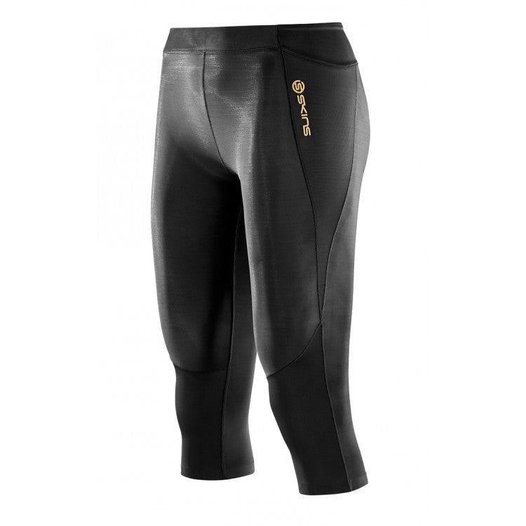SKINS | WOMENS A400 3/4 TIGHTS (BLACK)