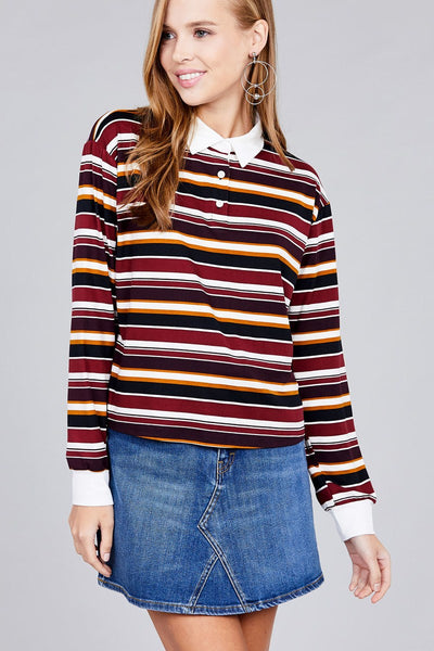 Ladies fashion plus size long sleeve multi striped dty brushed shirts