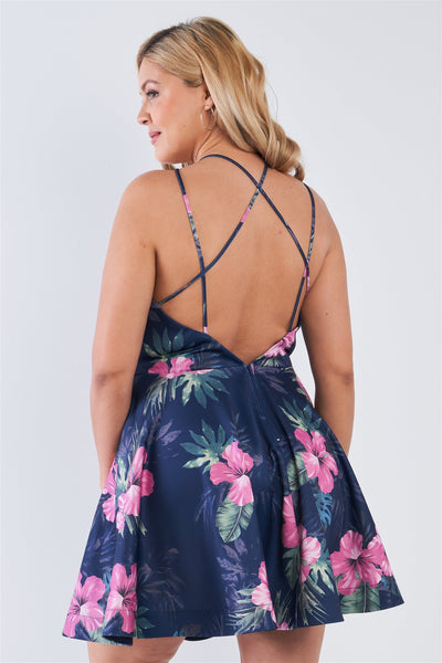 Plus Size Tropical Print Square Neckline Strappy Open Back Flare Mini Dress