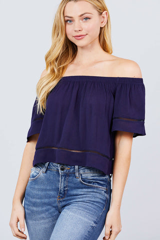 Elbow Sleeve Off The Shoulder Lace Trim Woven Top