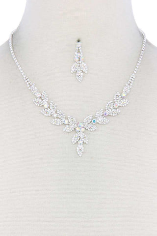 Leaf Shape Rhinestone Necklace