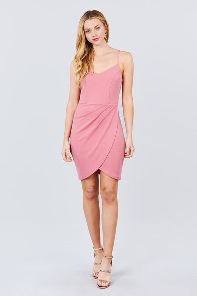 Cami Strap V-neck Wrapped Knit Mini Dress
