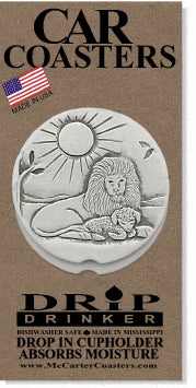 Lion & Lamb Car Coasters