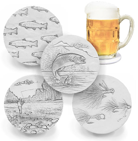 Fly Fishing Assorted Drink Coasters