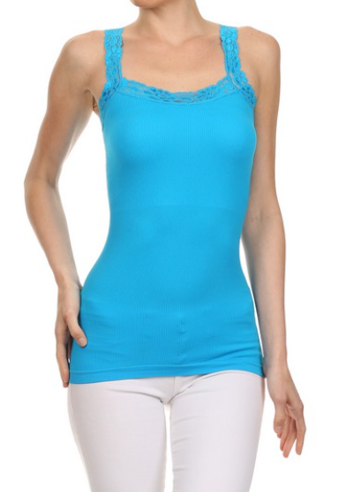 Lace Lined Tank- Blue