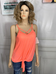 Neon Peach Tank With Criss Cross Front S