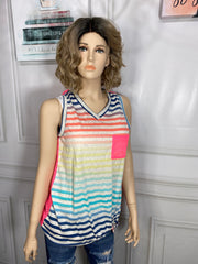 Multi Color Tank With See Through Neon Pink Back Size S