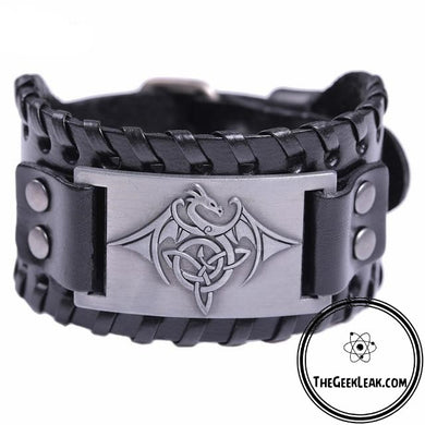 Dragon Amulet Bracelet With Large Genuine Leather Strap - Jewelry - TheGeekLeak.com