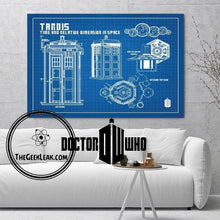 Load image into Gallery viewer, Doctor Who Tardis Blueprint Silk Canvas Oil Painting - Art - TheGeekLeak.com