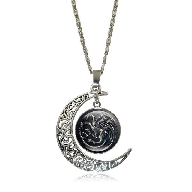 Game of Thrones - Crescent Moon w/ House Targaryen Glass Pendant Necklace - Jewelry - TheGeekLeak.com