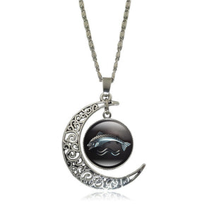 Game of Thrones - Crescent Moon w/ House Tully Glass Pendant Necklace - Jewelry - TheGeekLeak.com