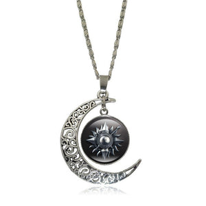 Game of Thrones - Crescent Moon w/ House Martell Glass Pendant Necklace - Jewelry - TheGeekLeak.com