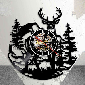 Vintage Deer & Moose Vinyl Record Clock & Wall Art - Decor - TheGeekLeak.com