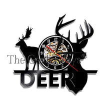 Load image into Gallery viewer, Vintage Deer & Moose Vinyl Record Clock & Wall Art - Decor - TheGeekLeak.com
