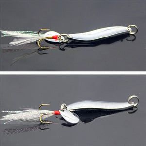 Spinners Spoon lure 5g 7g 10g 13g  with Feather Bass Treble Hook - Outdoors - TheGeekLeak.com