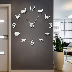 Giant Frameless Country Living Farm Animal Wall Clock - Clock - TheGeekLeak.com