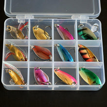 Load image into Gallery viewer, 12 Pcs Metal  Fishing Lures Spoon Bait Set with 12 Grid Box and Treble Hooks - Outdoors - TheGeekLeak.com