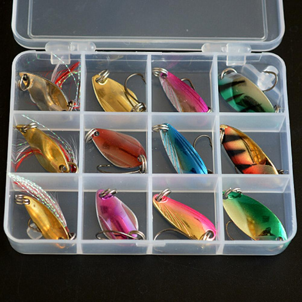 12 Pcs Metal  Fishing Lures Spoon Bait Set with 12 Grid Box and Treble Hooks - Outdoors - TheGeekLeak.com