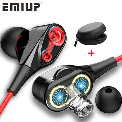 Dual Drive Stereo Earbuds w/ Bass and Mic -  - TheGeekLeak.com