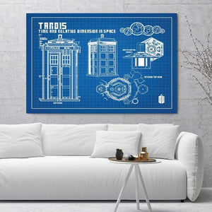 Doctor Who Tardis Blueprint Silk Canvas Oil Painting - Art - TheGeekLeak.com