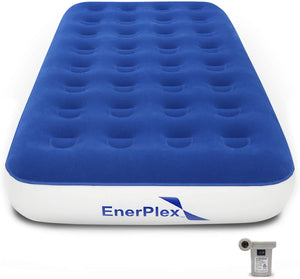 "9"" High Twin Size Camping Air Mattress - Blue/White"