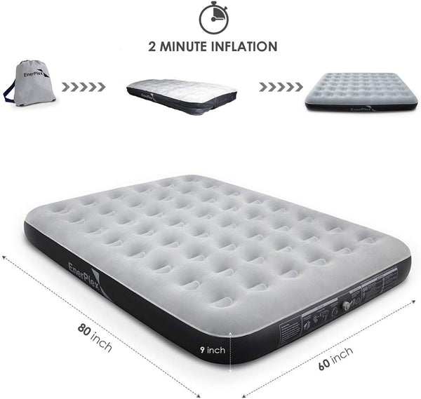 "9"" High Queen Size Camping Air Mattress -  Grey/Black"
