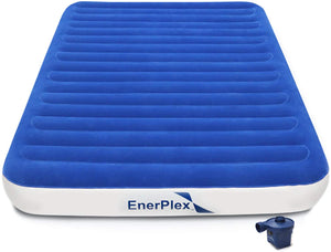 "9"" High Queen Size Luxury Camping Air Mattress - Wireless Pump"