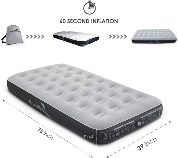 "9"" High Twin Size Camping Air Mattress - Grey/Black"