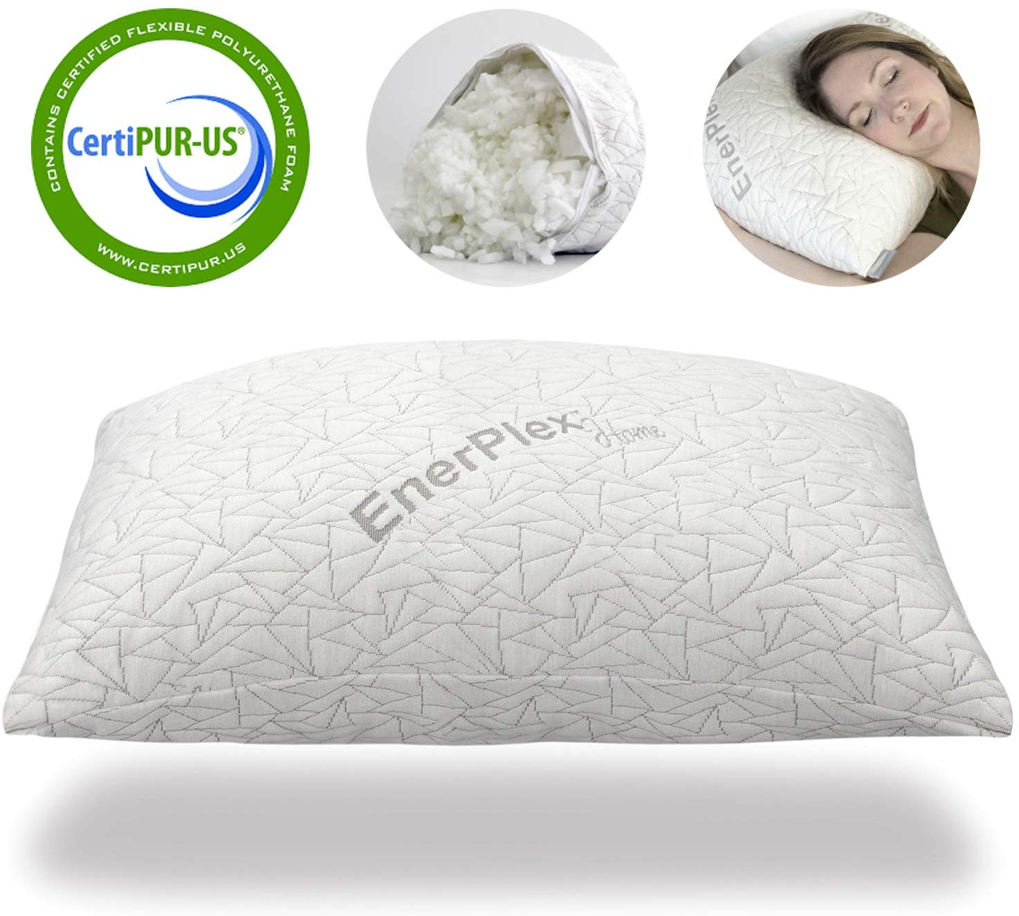 Bamboo Shredded Memory Foam Pillow,Made In USA,Queen,King,Standard,Travel