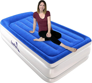 "15"" High Twin Size Air Mattress with Built-in Pillow and Pump"