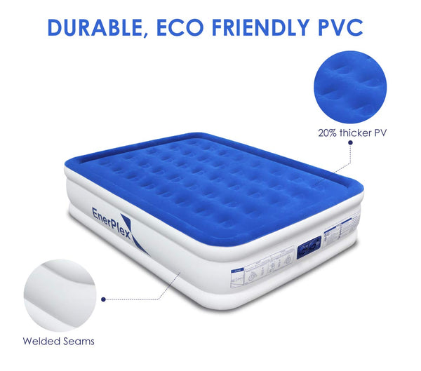 "18"" High Queen Size Air Mattress with Built-in Pump"