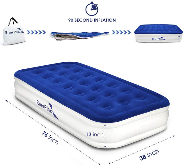 "13"" High Twin Air Mattress with Built-in Pump"
