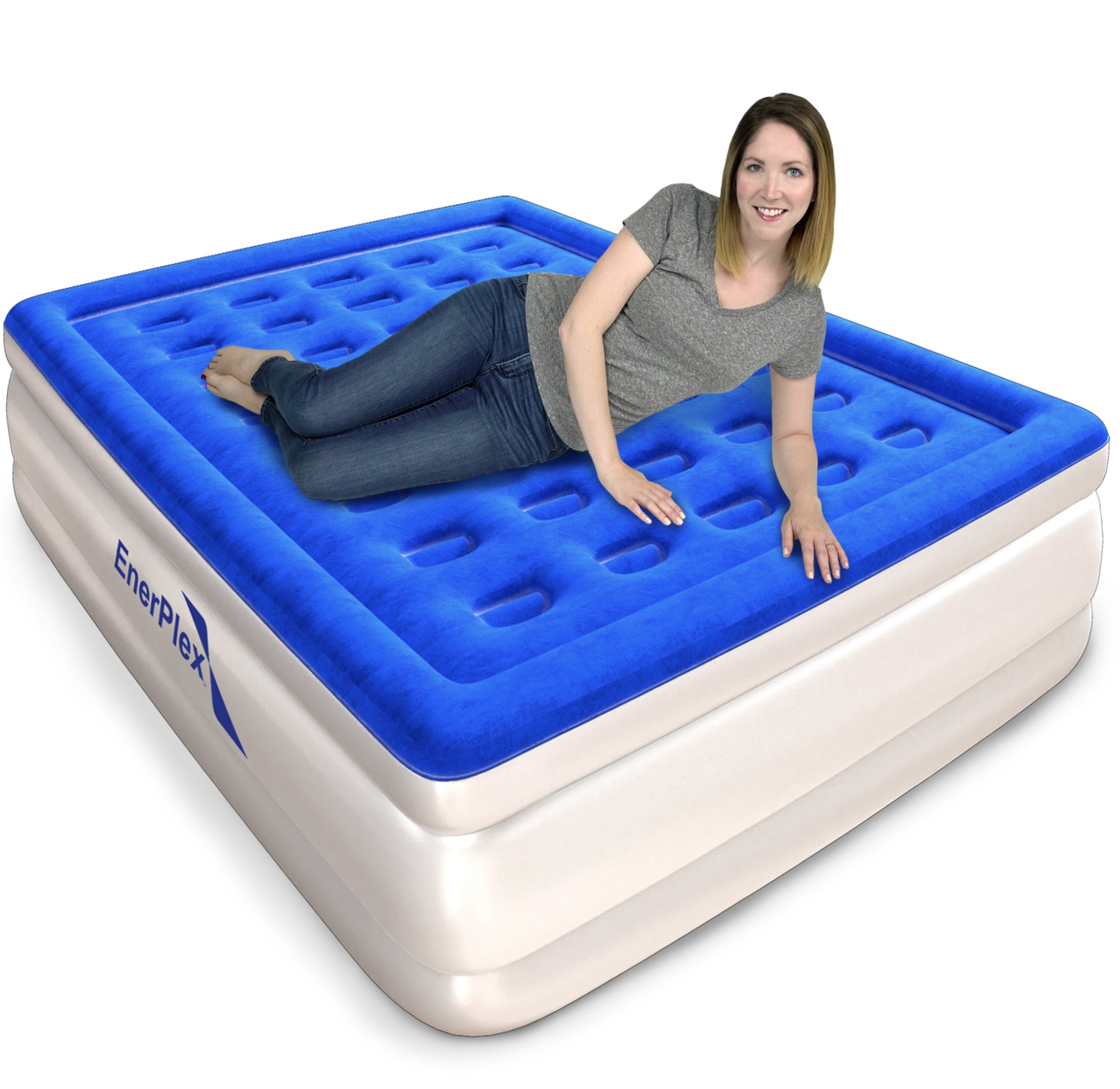 "16"" High Queen Air Mattress with Built-in Pump"
