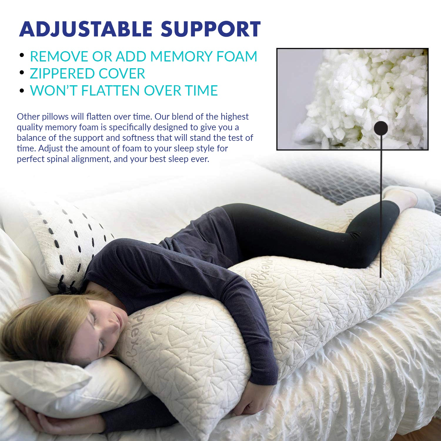 Adjustable Memory Foam Body Pillow
