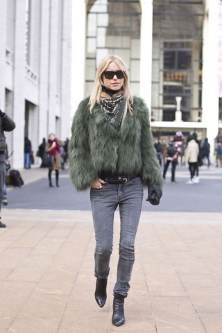 Fur Coat and Jeans