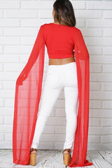 CROP TOP V-NECK OPEN ARM LONG SLEEVE LOOSE CHIFFON