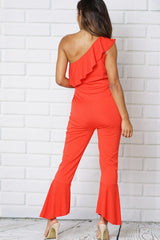 ONE SHOULDER SLEEVELESS FLOUNCE BELL LEG PANT JUMPSUITS