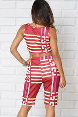 TWO PIECE SETS BANDEAU TOP AND SHORT STRIATED PRINT
