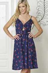 CHEERY PRINT KONT FRONT  BUTTON CAMI DRESS
