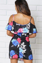 COLD SHOULDER FLORAL PRINT A-LINE DRESS