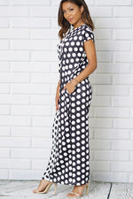 9b0e5e6a9b2c ... BLACK WHITE POLKA DOTS PRINT POCKETS SCOOP NECKLINE MAXI DRESSES