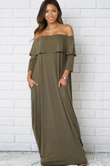 FLOUNCE OFF SHOULDER FRONT POCKET  MAXI DRESS