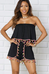 OFF SHOULDER RUFFLE POM POMS ROMPER