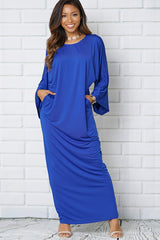 SCOOP NECKLINE WIDE SLEEVE MAXI DRESS