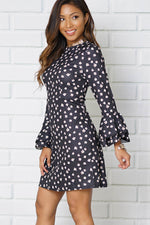 SCOOP NECKLINE LONG BELL SLEEVE CASUAL DRESS