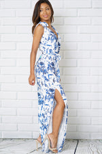KNOT SHOULDER TIE SIDE SPLIT WIDE LEG FLORAL JUMPSUIT