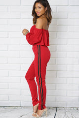 OFF SHOULDER LONG SLEEVE HIGH WAIST TWO PIECES SET