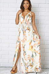 Open Back V Neck Slit Maxi Dress