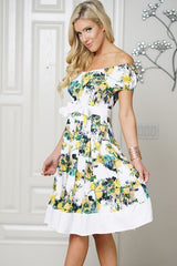 Off the Shoulder Vintage Bow Sun Party Dress